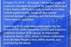 Investigation on Explosion at Quezon MPS 001